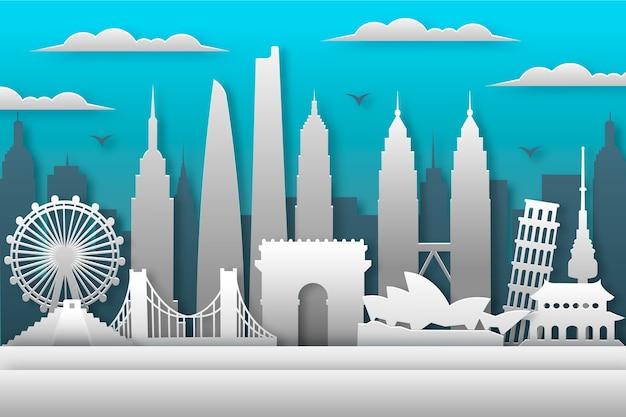 Bewolkte dag bezienswaardigheden skyline in papier stijl