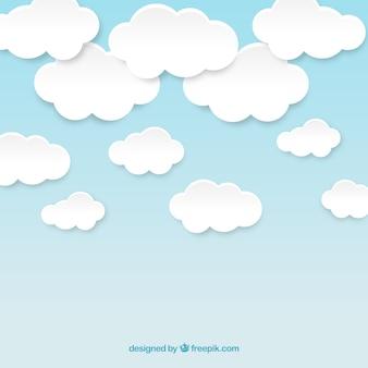 Bewolkte hemel in papieren stijl
