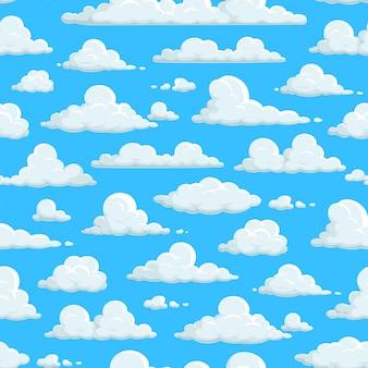 Bewolkte hemel naadloze patroon, wolken achtergrondbehang. wolkenpatroon op abstracte blauwe hemelachtergrond, pluizige cartooncloudscape, zonnig weeraard, pasenhemel en kinddecoratie