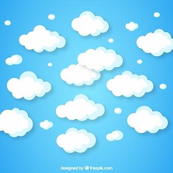 Bewolkte hemelachtergrond in vlak ontwerp
