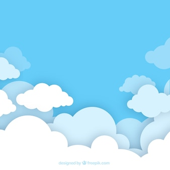 Bewolkte hemelachtergrond in vlakke stijl