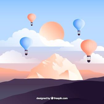 Bewolkte hemelachtergrond met kleurrijke ballonnen vliegen