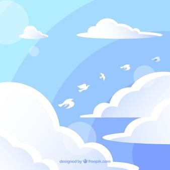 Bewolkte hemelachtergrond met vogels die in vlakke stijl vliegen
