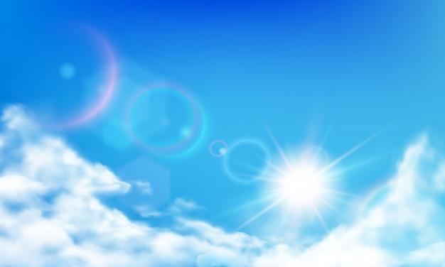 Bewolkte lucht. overdag felle zon, zonnige dagwolken en realistische wolk in blauwe hemel realistische illustratie