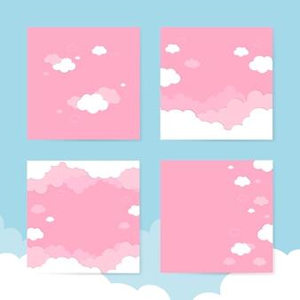 Bewolkte roze hemelachtergronden