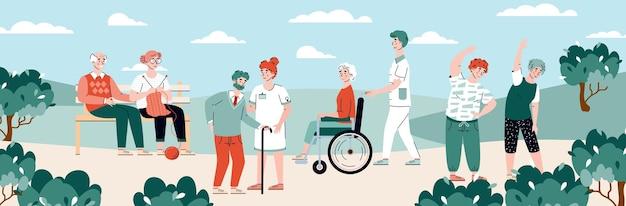 Bewoners van verpleeghuis op wandeling en vrije tijd cartoon vectorillustratie