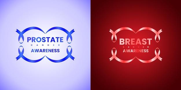 Bewustwording van blauw en rood lint ter ere van werelddag voor prostaatkanker en borstkanker