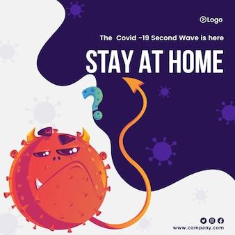 Bewustwording van zelfbescherming verspreiden door thuis te blijven banner ontwerpsjabloon van covid 19