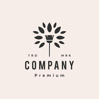 Bezem boom blad schoonmaakservice hipster vintage logo sjabloon