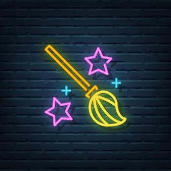 Bezemsteel neon sign vector elementen