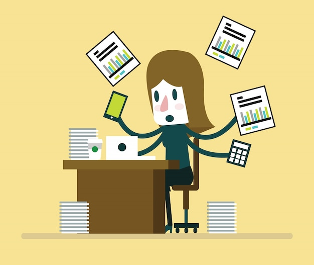 Bezet zakenvrouw werken met papierwerk op haar bureau op kantoor. platte karakterontwerp. vector illustratie