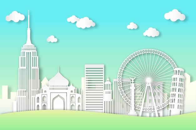 Bezienswaardigheden skyline toerisme in papieren stijl