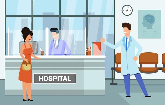 Bezoek aan medical hospital, illustratie. vrouw kwam naar het ziekenhuis consult practitioner. personeel medische instelling, moderne interieur ziekenhuisreceptie. bouwen voor de gezondheidszorg.