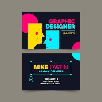 Bezoek bedrijfskaart met grappige karaktergezichten