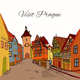 Bezoek de oude stad van praag illustratie