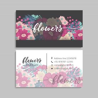 Bezoek kaart met bloemen