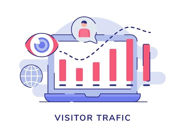 Bezoeker verkeer concept statistiek staafdiagram witte geïsoleerde achtergrond