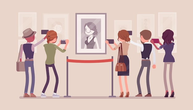 Bezoekers in museumillustratie