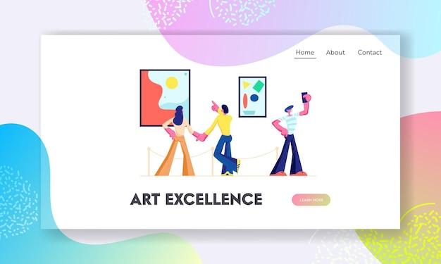 Bezoekers van de tentoonstelling bekijken moderne abstracte schilderijen in de galerie voor hedendaagse kunst. mensen kijken naar kunstwerken of exposities in het museum. website-bestemmingspagina, webpagina. cartoon platte vectorillustratie