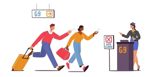 Bezorgd man en vrouw toeristen die op de luchthaven lopen. een paar mannelijke en vrouwelijke personages haasten zich om aan boord te gaan. reizigers missen vlucht