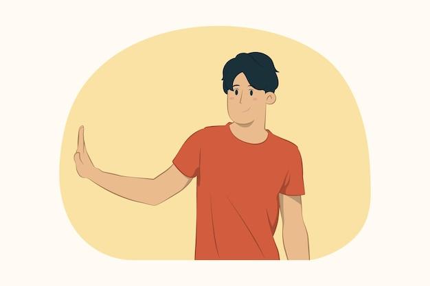 Bezorgde jonge man met stop gebaar opzij met palm concept