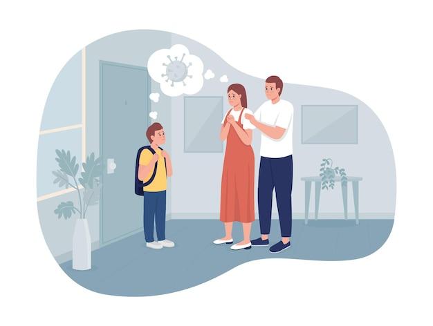 Bezorgde ouders en hun zoon 2d vector geïsoleerde illustratie
