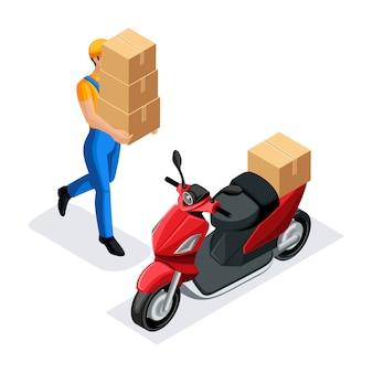 Bezorgdienst koerier brengt dozen naar de scooter, snelle levering van bestellingen, 24 uur per dag werk, de koerier draagt het pakket
