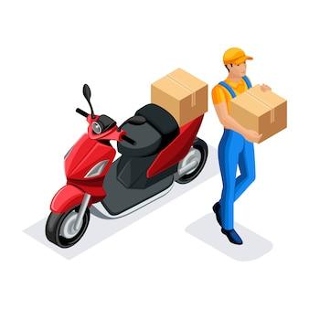 Bezorgdienst koerier op de scooter snelle levering, spoed levering van bestellingen de klok rond, de koerier draagt het pakket