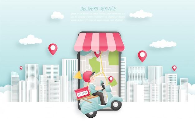 Bezorger bezorgen pakket aan stad met scooter, online boeken met smartphone, papier gesneden stijl. illustratie.