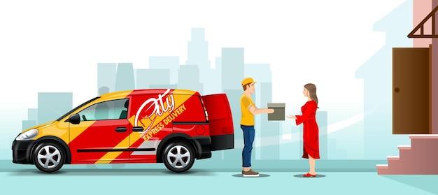 Bezorger geeft een bestelling aan een meisje op straat in de buurt van een auto met de achtergrond van de stad. bewerkbare banner.