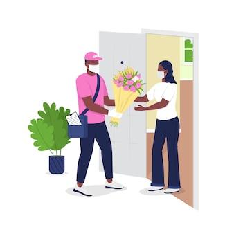 Bezorger in gezichtsmasker geeft vrouw bloemen platte gedetailleerde karakters.