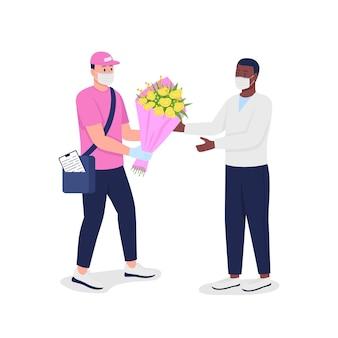 Bezorger in masker en handschoenen met klant platte gedetailleerde karakters. veilige pandemische bloemenverzending geïsoleerde cartoon