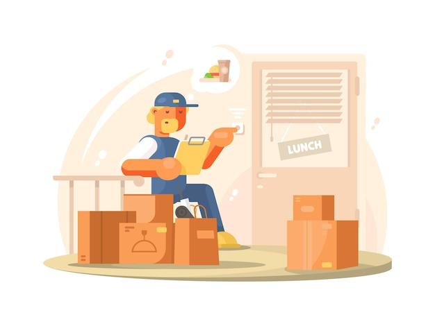 Bezorger in uniform bezorgt pakketten en pakketten op adres. vlakke afbeelding