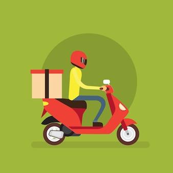 Bezorger jongen rit elektrische scooter motorfiets