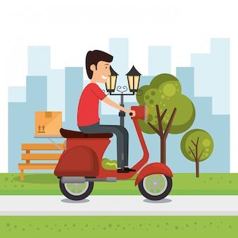 Bezorger met motorfiets