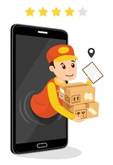 Bezorger met pakketten die uit een cellphone komen