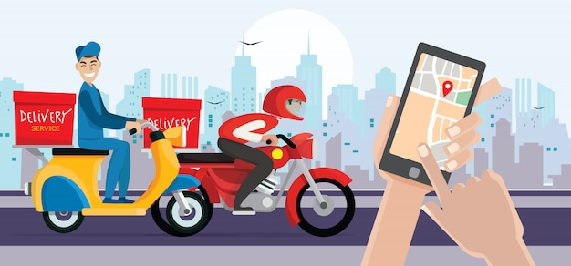 Bezorger ritfiets krijgt bestelling. hand met mobiele smartphone open app. snelle levering, verzending.