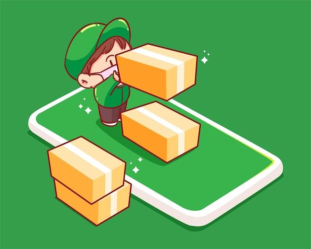 Bezorger staat op mobiele telefoon en draagt een kartonnen doos