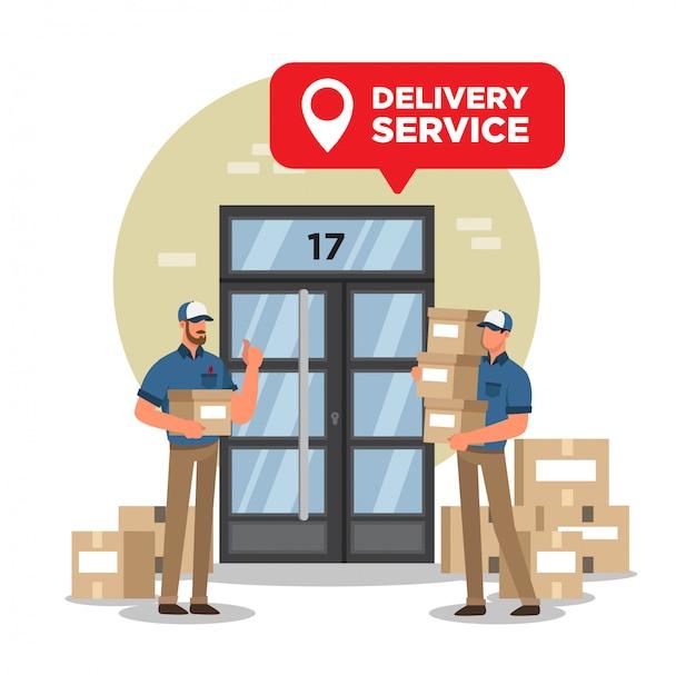 Bezorgers doen online bezorgservice met veel dozen aan de deur van een gebouw.