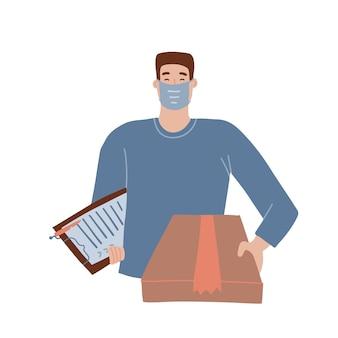 Bezorgers of koerier in beschermend medisch gezichtsmasker met een doos in zijn handen levering van goederen du...
