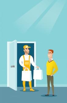 Bezorgkoerier bezorgt boodschappen aan klant.