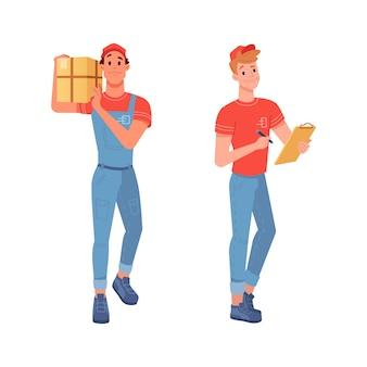 Bezorgkoeriers leveren goederenpakketten en vrachtbrief voor handtekening vector plat geïsoleerde pictogrammen