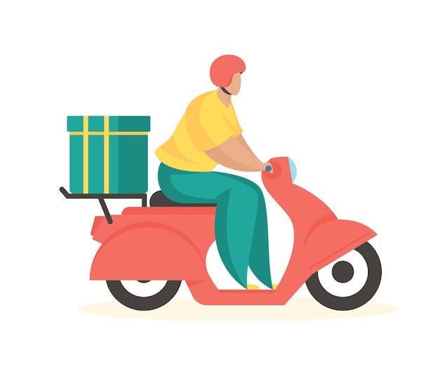 Bezorgservice koerier op scooter snelle logistiek met expresgoederen
