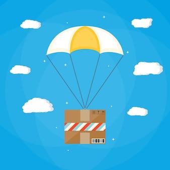 Bezorgservice, lucht verzending. parachute met doos