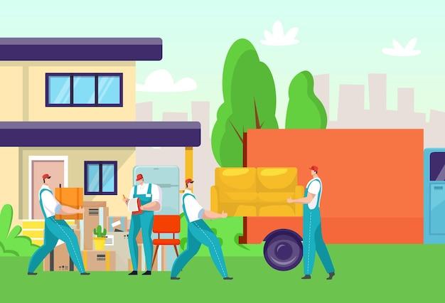 Bezorgservice, man werknemer mensen bij cartoon box transport, verhuizing van huismeubilair