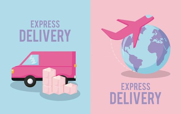 Bezorgservice met bestelwagen en vliegtuig