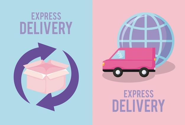 Bezorgservice met doos en bestelwagen