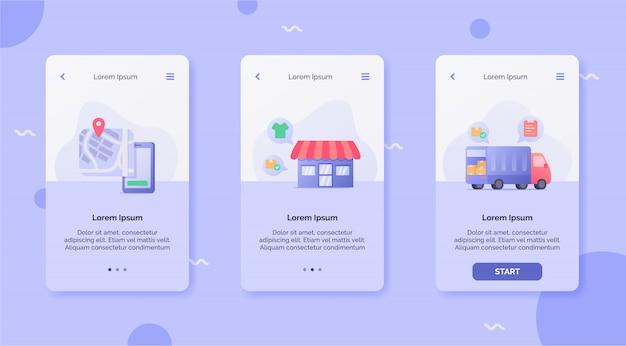 Bezorgservice met tracking locatie winkel scheepvaart vrachtwagen campagne concept voor mobiele apps ontwerp landingssjabloon moderne platte cartoon stijl.