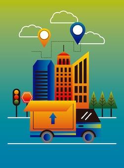 Bezorgservice pinnen locaties in gebouwen en vrachtwagen vector illustratie ontwerp