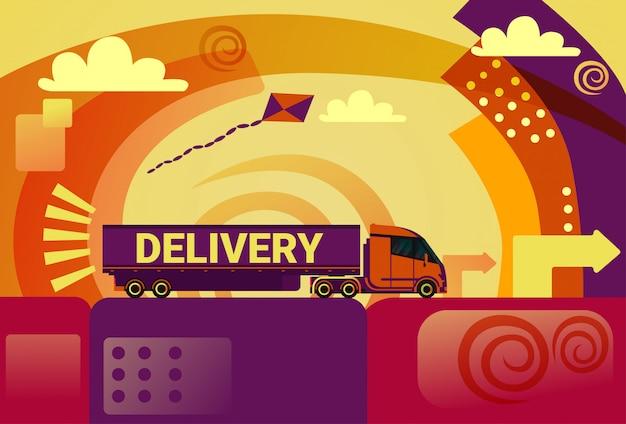 Bezorgservice semi-vrachtwagenaanhangwagen concept producten verzending